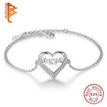 BELAWANG Solid 925 Sterling Silver Mom in my Heart Charm Bracelets for Women Cubic Zirconia Crystal Jewelry 2017 Mother's Day(China)