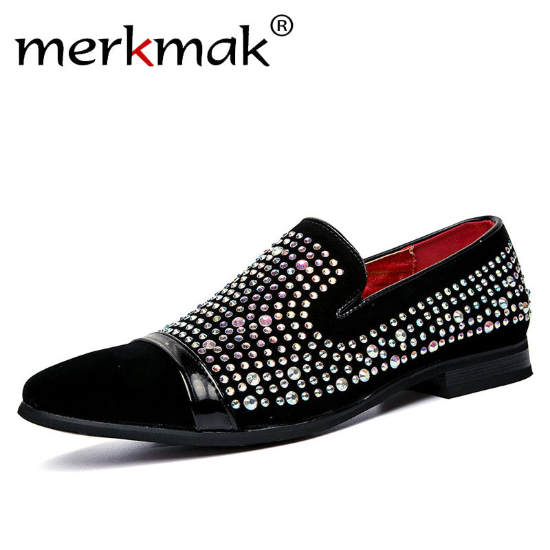 Merkmak Men Black Shoes Lofers 2017 New Suede Leather Luxury Brand Crystal Fashion Mens Flats Male Prom Wedding Party Shoes<br>