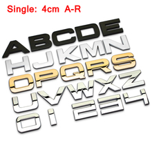 A-R 30mm Height Chrome Metal Letters for Car DIY Car Styling Logo Badge 3D Sticker for Range Rover Great Wall Black Silver Gold