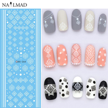 1 Sheet Vintage Damask Water Decals White Brocade Nail Art Transfer Stickers DS264