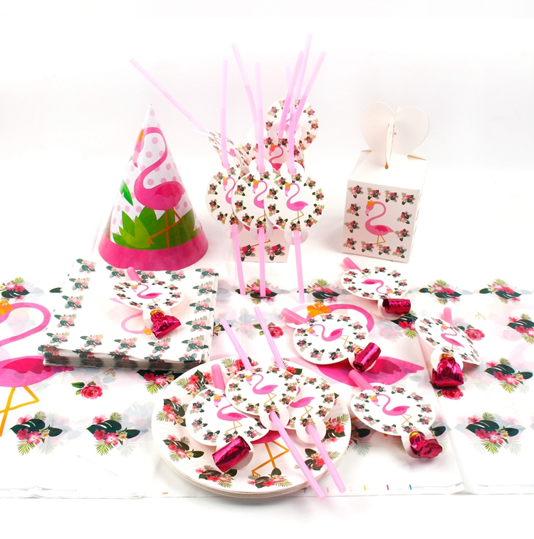 QIFU Flamingo Decoration Tropical Summer Beach Birthday Party Decor Events Luau Flamingo Hawaii Hawaiian Party Supplies Hibiscus 17
