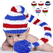 Newborns Babies Hand Knitting Hat Green Red Crochet ELF Long Tail Christmas Pom-pom Hat Photography Props
