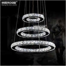 Fast Shipment 3 Rings Modern Chrome Pendant Lamp LED Hall Crystal Chandelier Pendent Lights Kitchen LED Lustres MD8825