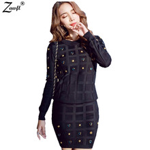 ZAWFL European Style Waves Nail Bead Package Hip Leisure Top+Skirt New 2 Piece Set Suit Skirt 2017 Winter Pullover Sweater Hot(China)