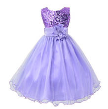Hot Sale Baby Girl Flower sequins Dress Party Princess Dress Children kids clothes 9 colors 3-14yrs Flower Girl Dress(China)