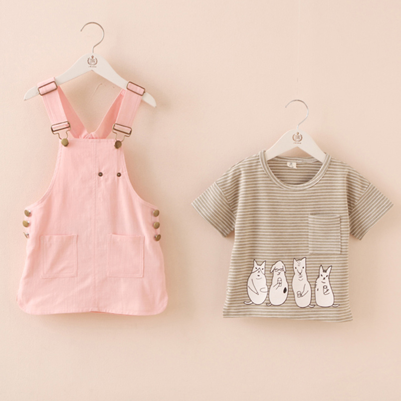 Girls T Shirt Striped Cartoon Kids T-shirt Girls Brand+Girls Dress Summer Pocket Clothes Set Girl Casual Children Clothing 2662Z<br><br>Aliexpress