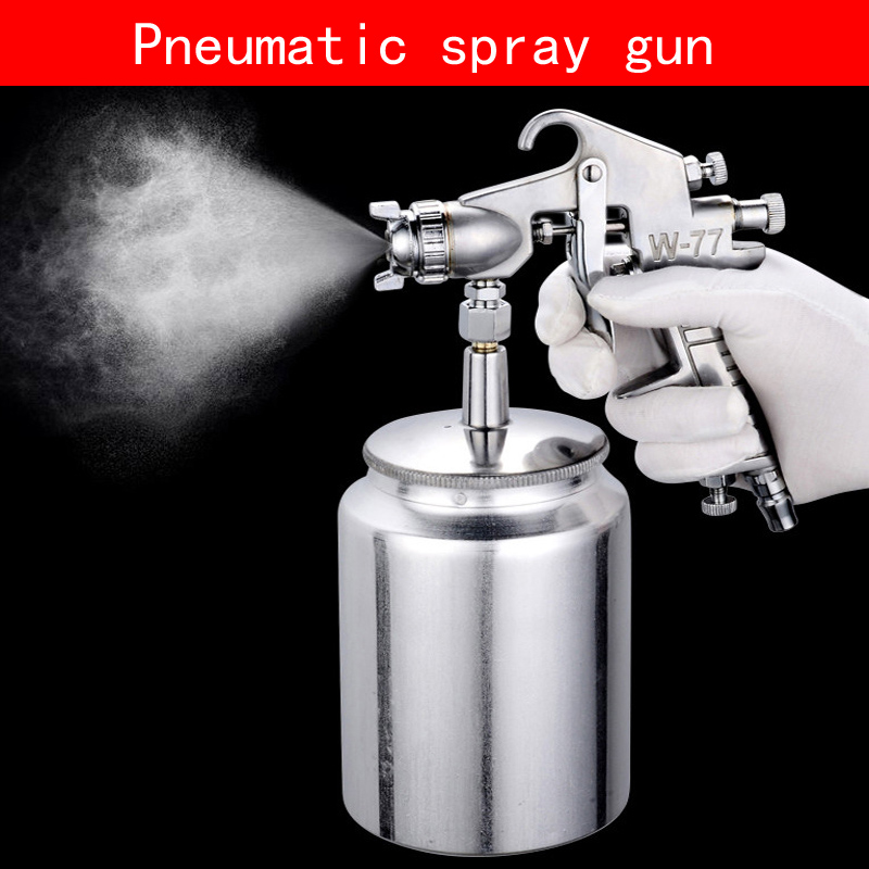 Portable gravity type W-77S Pneumatic spray gun with non-corrosive alloy pot diameter100*150mm for Wooden Furniture car wall<br>
