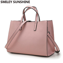 SMILEY SUNSHINE brand genuine leather women bags designer handbags high quality brand female shoulder bags big pink ladies tote(China)