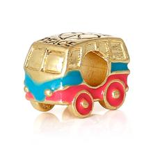 DoreenBeads European Charm Zinc metal alloy Beads Car Gold color HeartEnamel About 14mmx11mm,Hole: Approx 4.7mm,1 PC(China)