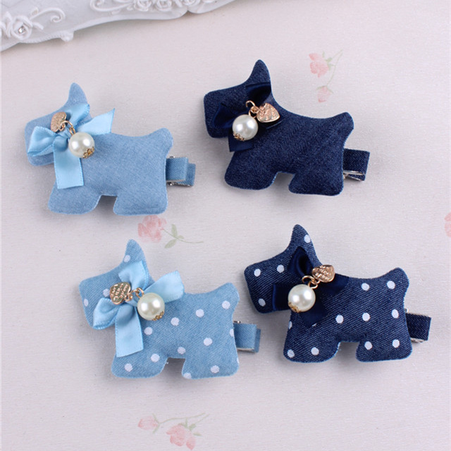 Lovely Puppy Hair Clips Denim Cute Polka Dots Doggy With Pearl Hairpin Barrettes Kids Children Baby Girls Hairwear Accessories(China)
