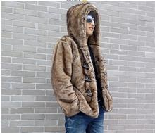Free Shipping Mens Casual Short Section Horn Button Hooded Fur Jackets Faux Mink Fur Outwears Fashion Winter Fur Coats S/5Xl C4