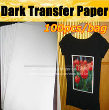 Dark transfer paper for T-Shirts with 100pcs/bag by free shipping, dark sublimation paper