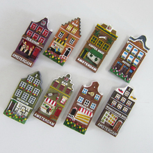 Holland Amsterdam Tourist Souvenirs Fridge Magnets 3D Colorful House Resin Refrigerator Magnetic Stickers Home Decor Decoration(China)