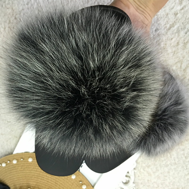 Natural Fur Slippers Women Fox Home Fluffy Sliders Comfort With Feather Furry Summer Flats Raccoon Ladies Shoes Big Size 45 Home