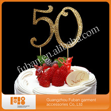 "(30 pcs/lot ) 7cm Number ""50"" Rhinestone Cake Topper For wedding birthday party,free shipping(China)"