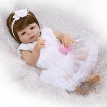 Buy 55cm New Hair Color Full Body Silicone Reborn Baby Doll Toys Realistic Newborn Girl Babies Dolls Gift Birthday Gift Bathe Toy