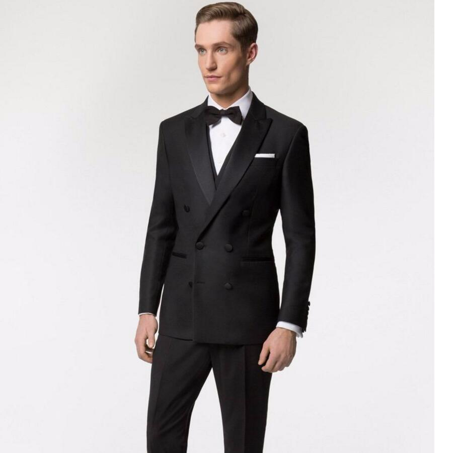 Italian Style Black Double Breasted Groom Tuxedos Slim Fit Mens Wedding Party Suits Bridegroom Groomsman Suit(Jacket+Pants)
