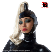 Sexy sharp dresser Black open face Latex Hoods with pony tail ponytail Rubber Masks Hoods with wigs TT-194