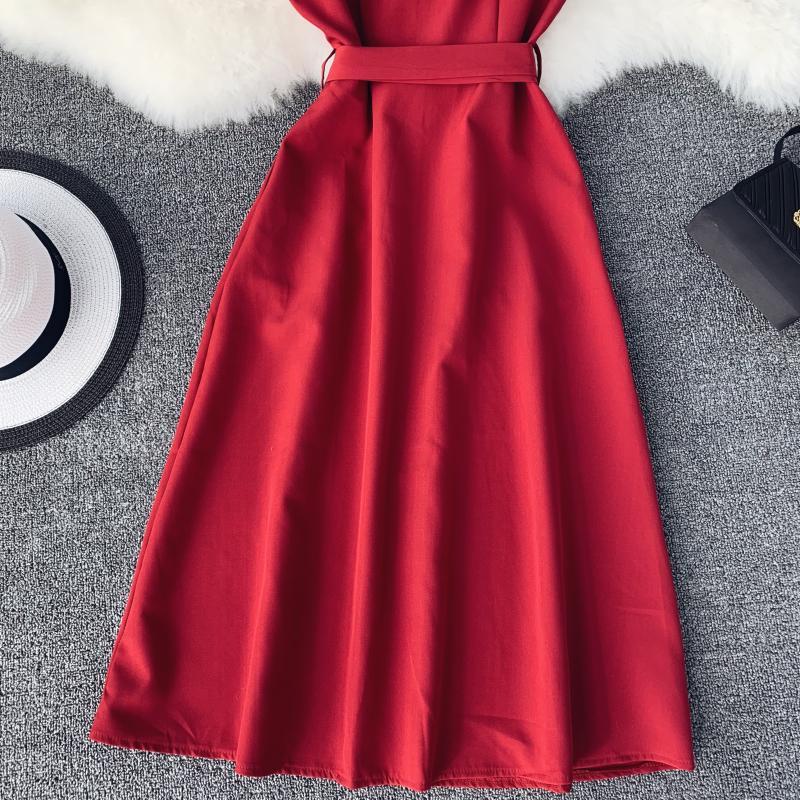 Women White Orange Casual Access Slash Neck Solid Color Single Breasted Vestidos E459 31 Online shopping Bangladesh
