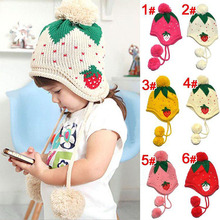 Kids Girls Baby Knitting Crochet Hat Strawberry Pattern Cap 4 Colors 1-6 Years Free Shipping