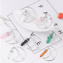 Top Sell Vintage Natural Stone Moon Statement Hairpin Sweet Bobby Pin Bijoux Fashion Jewelry Hair Clip(China)