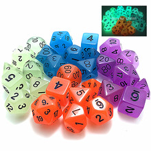 Wholesales 7pc/lot Glow in the dark RPG Digital Dice Set D4,d6,d8,d10,d10%,d12,d20 for Board Game Orange,purple,blue,light green(China)