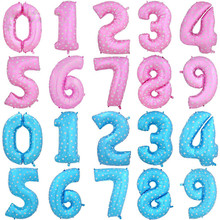 Lovely 40 inches Pink Blue Number Foil Balloons Birthday Party Digit Ballons Wedding Decor Baloons Christmas Holiday Supplies