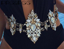 PPG&PGG Fashion Colorful Luxury Full glass crystals big statement shiny belly chains beach body chain necklace