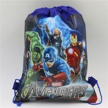 Cool non-woven fabric backpack party favors avenger theme drawstring bag child boy birthday decoration gift bag favors 10pcs\lot(China)