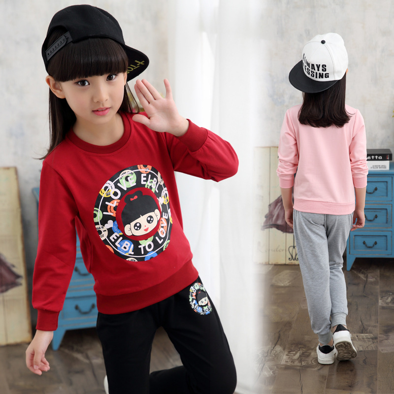 Garment Girl Autumn Clothing New Pattern Suit Children Sleeve Leisure Time Spring And Autumn 2 Pieces Kids Clothing Sets Cotton<br>