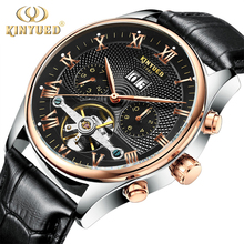 KINYUED Skeleton Automatic Watch Men Waterproof Top Brand Mens Mechanical Watches Leather Calendar Rose Gold Relogio Masculino(China)