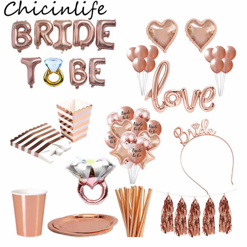 Chicinlife Rose Gold Bride To Be Letter Foil Balloon Tiara Crown Headband Diamond Ring Balloon Bachelorette Hen Party Supplies