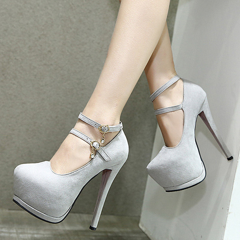 Sexy Rhinestone High Heeled Shoes Pumps 15cm Sexy Wedding Shoes Women Strap Elegant Ladies Shoes High <br><br>Aliexpress