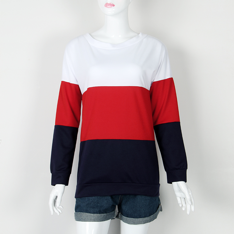 Sweatshirt, Women's Sweatshirt Patchwork Pullover 17