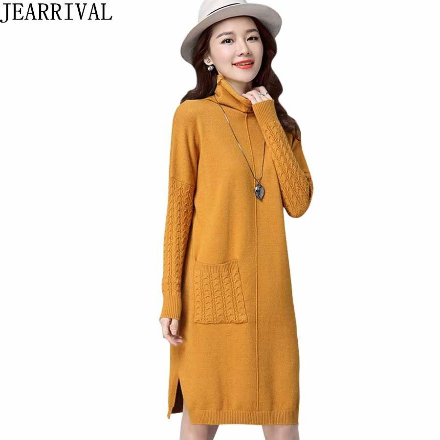 2017 New Women Knitted Dresses Elegant Solid Color Long Sleeve Turtleneck Pockets Loose Sweater Winter Dress Vestido De FestaÎäåæäà è àêñåññóàðû<br><br>
