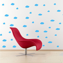 Kids Rooms Decor Lovely Wall Sticker Clouds Make A Blue Sky For Your Room Vinyl Wall Art Decals BA(China)