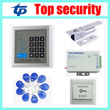 125KHZ RFID card access control kit ID card access control system,power supply,electric lock,exit button,10pcs RFID key