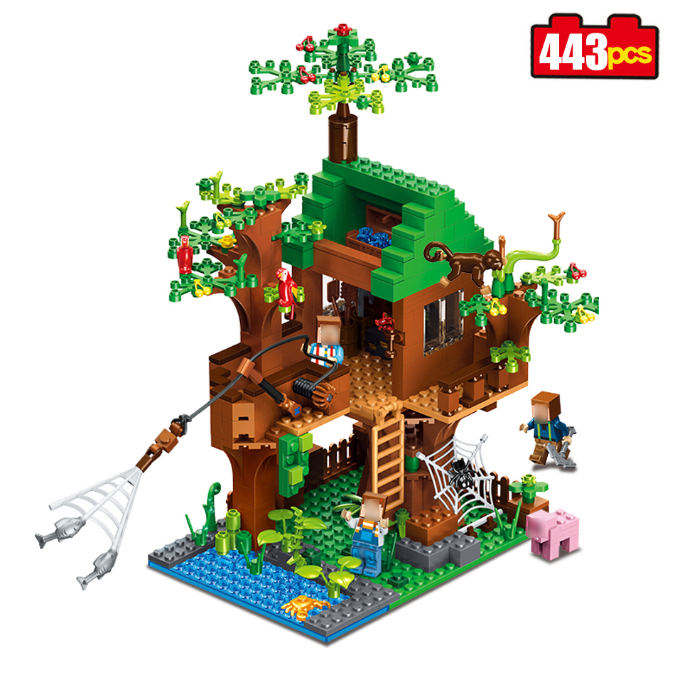 443pcs mine World Series Island Forest House Model Building Blocks Compatible Legoed Minecrafted village brick toys for children<br>