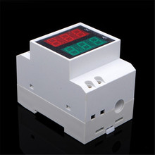 AC Dual Display Red Blue LED Voltmeter Ammeter Voltage Ampere Gauge 35mm Din Rail Design For Electric Power Systems(China)