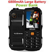 6800mAh large Battery Long Standby Russian Arabic Shockproof dustproof SOS flashlight Power Bank torch FM BT cell mobile phone(China)