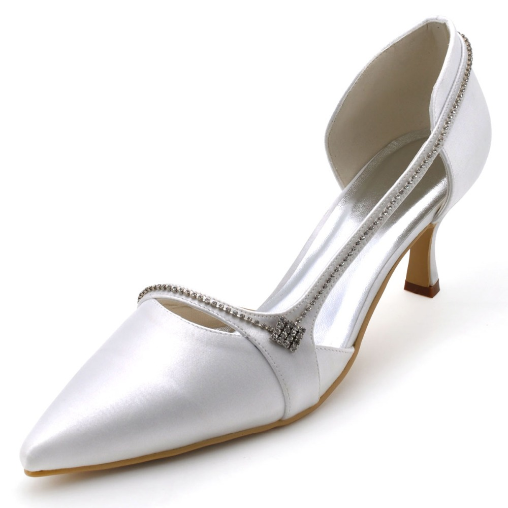 003 Woman White Red Bride Pointy -Toe Stiletto Mid Heel Pumps Rhinestone Wedding bridal Evening Party Shoes <br><br>Aliexpress