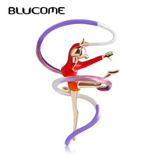 Blucome Sports Gymnastics Whirling Girls Ribbon Brooch Clothes Accessories Gold-color Enamel Brooches Lady Women Jewelry Pins(China)
