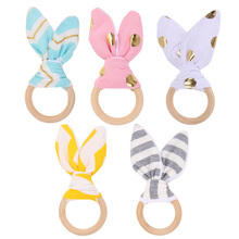 Baby Toy Soft Rabbit Ears Wooden Hand Grasp Toy Rattles Develop Baby Intelligence Baby Grasping Toy Hand Bell Rattle(China)
