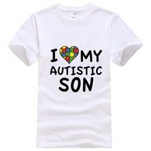 2017 Rushed New Arrival Fashion O-neck Tee4u T Shirt Design Template Men Short-sleeve Office Love My Autistic Son Tee