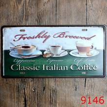 "Free Ship Vintage Metal Tin Signs Car Number ""Classic Italian Coffee"" License Car Plates Wall Art Craft Painting Sticker 15x30cm(China)"