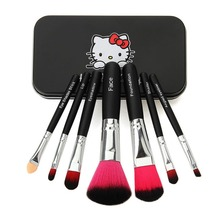 Hot Pro Hello Kitty Makeup Cosmetic Brush 7PCS Set Kit Iron Mini Professional Facial Brushes Metal Box Black/Pink Maquiagem Gift(China)