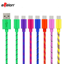 Effelon 1M/2M3M Hot Selling Braided Fabric Micro USB Cord Data &Sync Charger Cable For Android Smart Phone for tablet PC