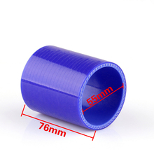 Universal Straight 0 Degree 76mm 55mm Vacuum Silicone Pipe Hose Coupler Intercooler Turbo Intake Water Air Pipe Connection Blue