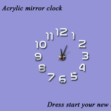 2016 new 3d diy home decoration acrylic mirror clock clocks watch wall large Quartz Needle modern living room free shipping
