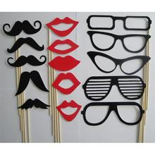 15Pcs/set New Fashion Photo Booth Props Moustache Lips Glasses On A Stick Party Birthday Wedding